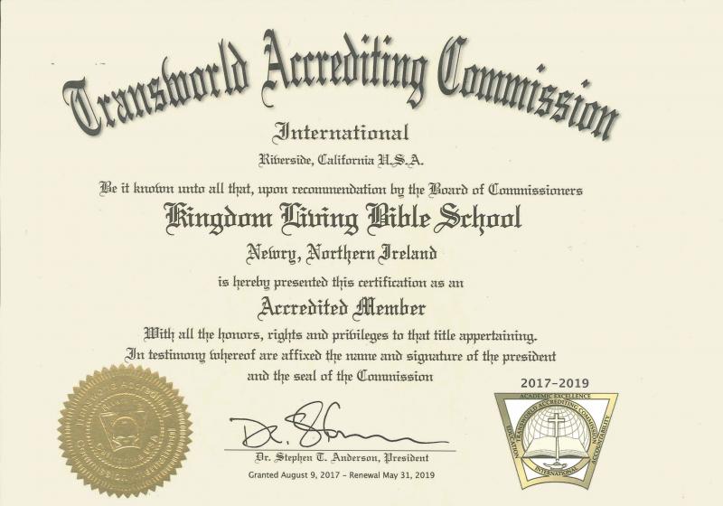 accreditation certificate beige